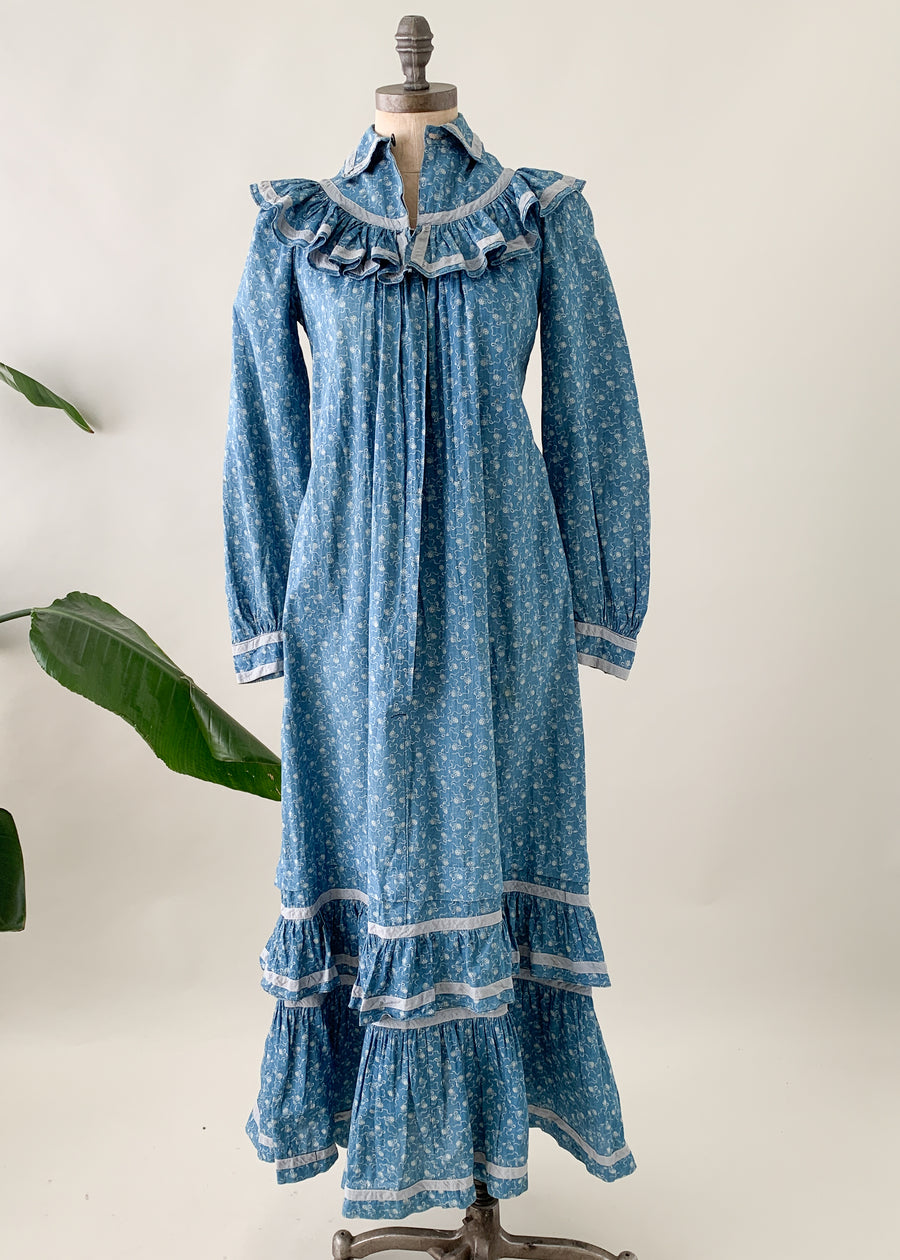 Antique Victorian Calico Indigo Ruffle Dress