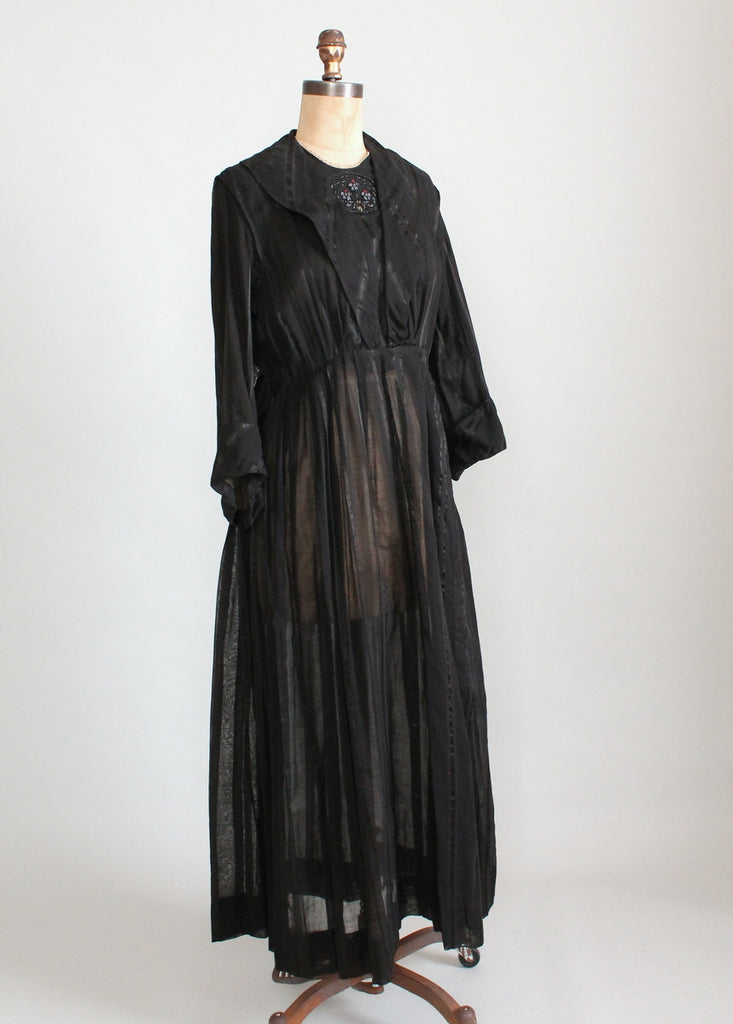 Antique 1910s Beaded Black Striped Cotton Day Dress