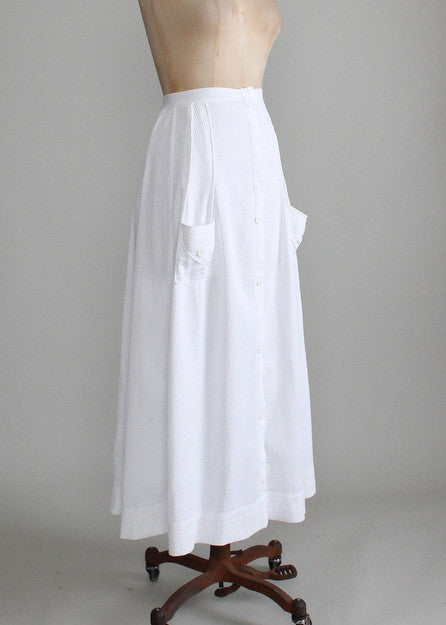 Vintage 1910s White Cotton Lawn Party Skirt
