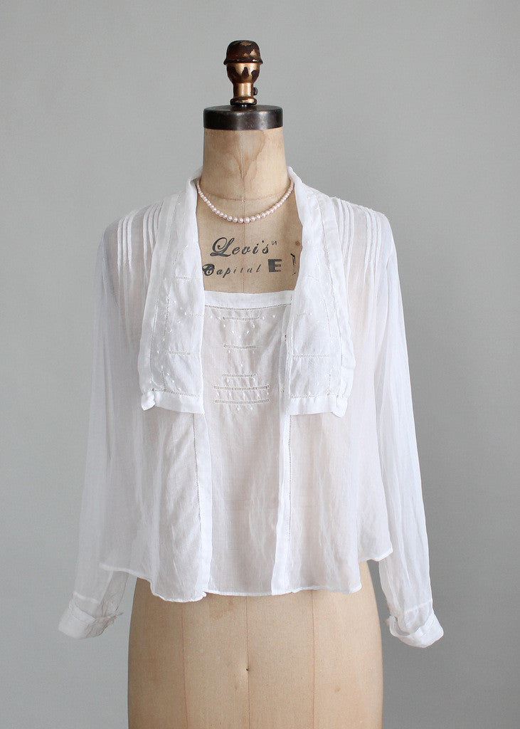 Vintage Edwardian White Gossamer Cotton Blouse