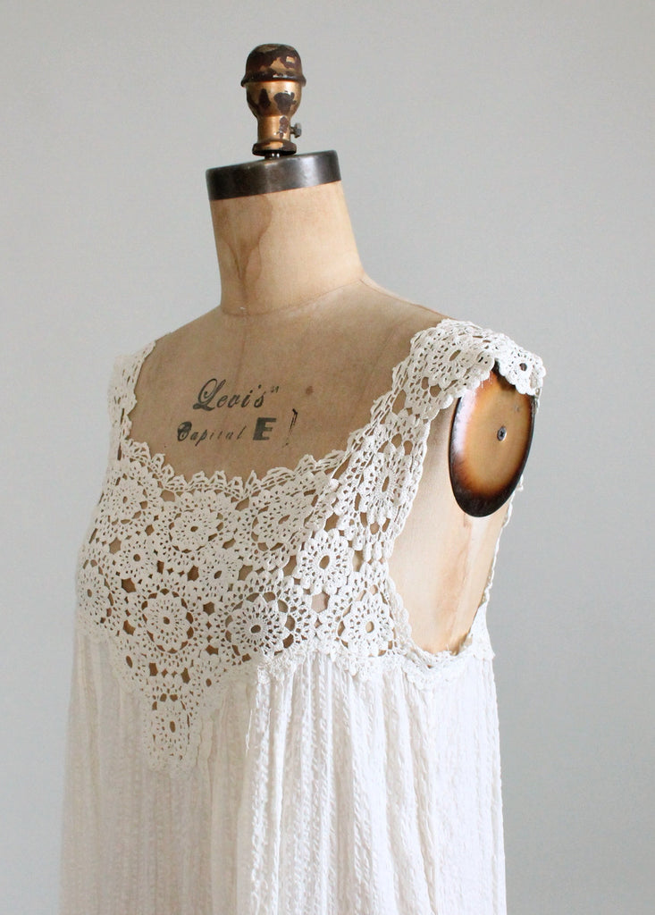 Vintage 1910s Cotton and Crochet Tank Dress