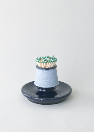 Antique Blue Ceramic Match Strike & Holder