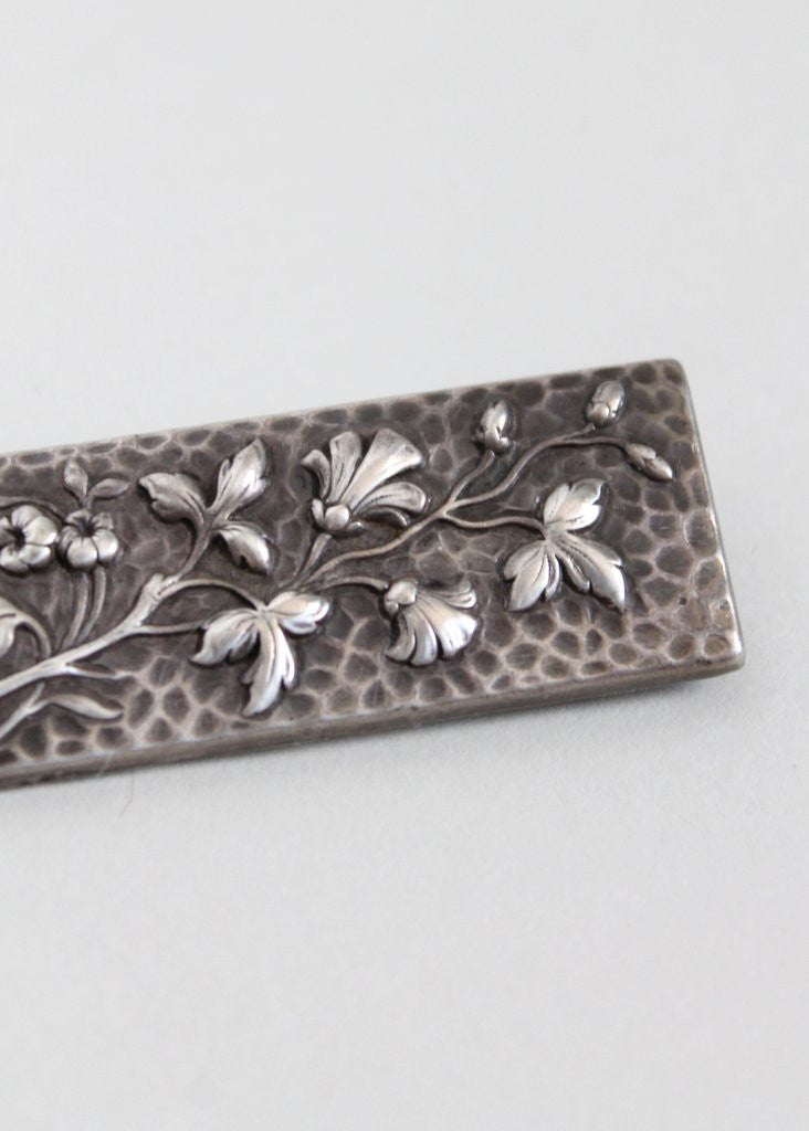 Vintage Late 1800s Floral Silver Brooch