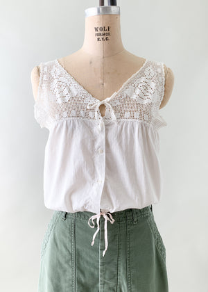 Antique Edwardian Cotton and Crochet Tank