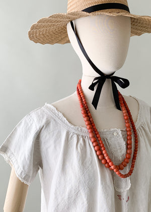 African Coral Glass Bead Necklace