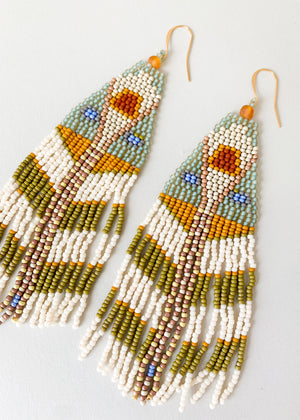 Moth Variation One Beaded Earrings