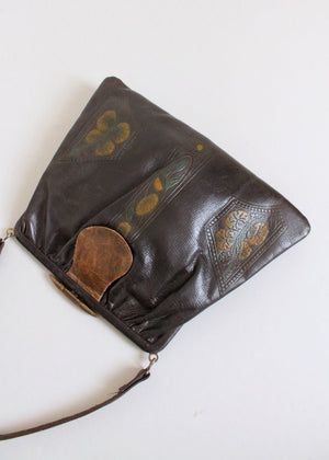 Vintage Early 1920s Dyed Tooled Leather Purse