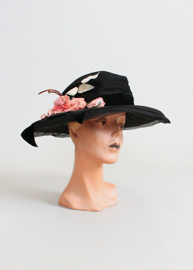 Vintage Early 1920s Black Wide Brim Cloche Hat with Pink Flowers