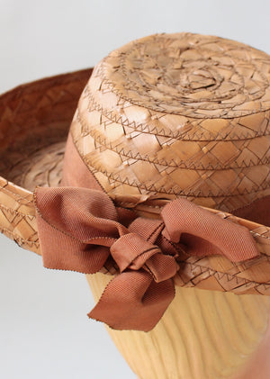 Vintage Early 1940s Deep Brim Straw Hat