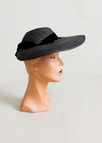Vintage Early 1940s Navy Straw Wide Brim Hat