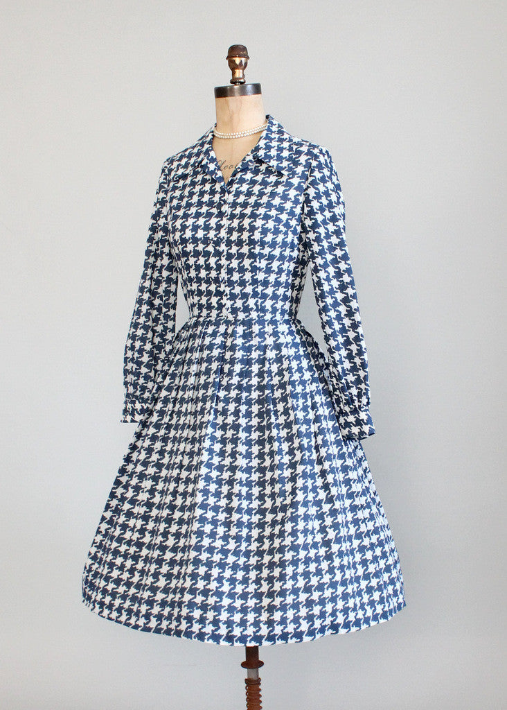 Vintage Early 1960s Houndstooth Shirtwaist Dress