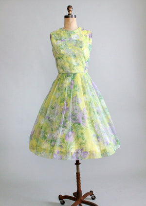 Vintage 1960s Chartreuse and Purple Floral Dress