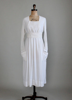 Antique Edwardian Soutache Cotton Lawn Dress