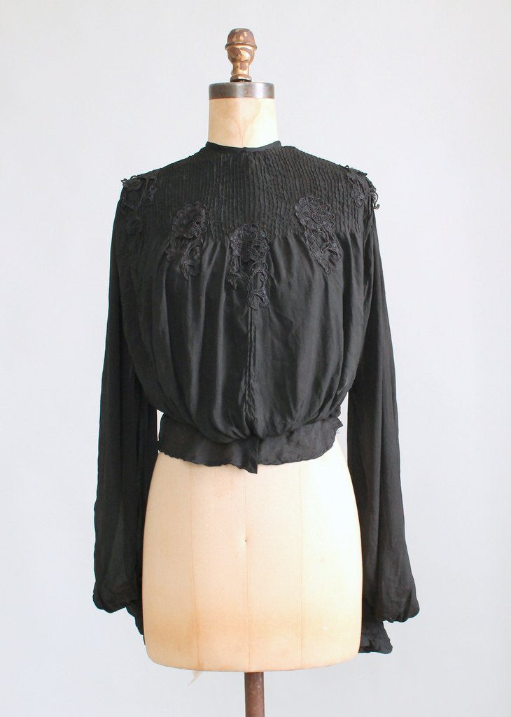 Antique Edwardian Black Silk Poet Blouse