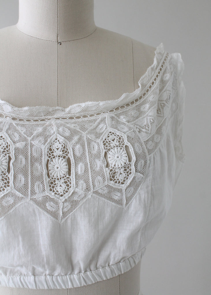 1910s Edwardian Cotton and Lace Cropped Corset Cover