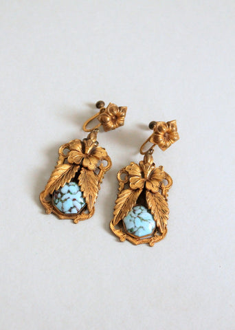 Antique Edwardian Floral Earrings