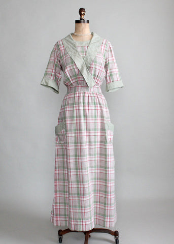Antique Edwardian Cotton Plaid House Dress