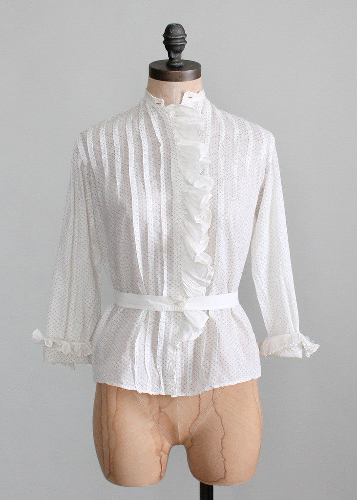 Vintage Edwardian Ruffle Front Cotton Blouse