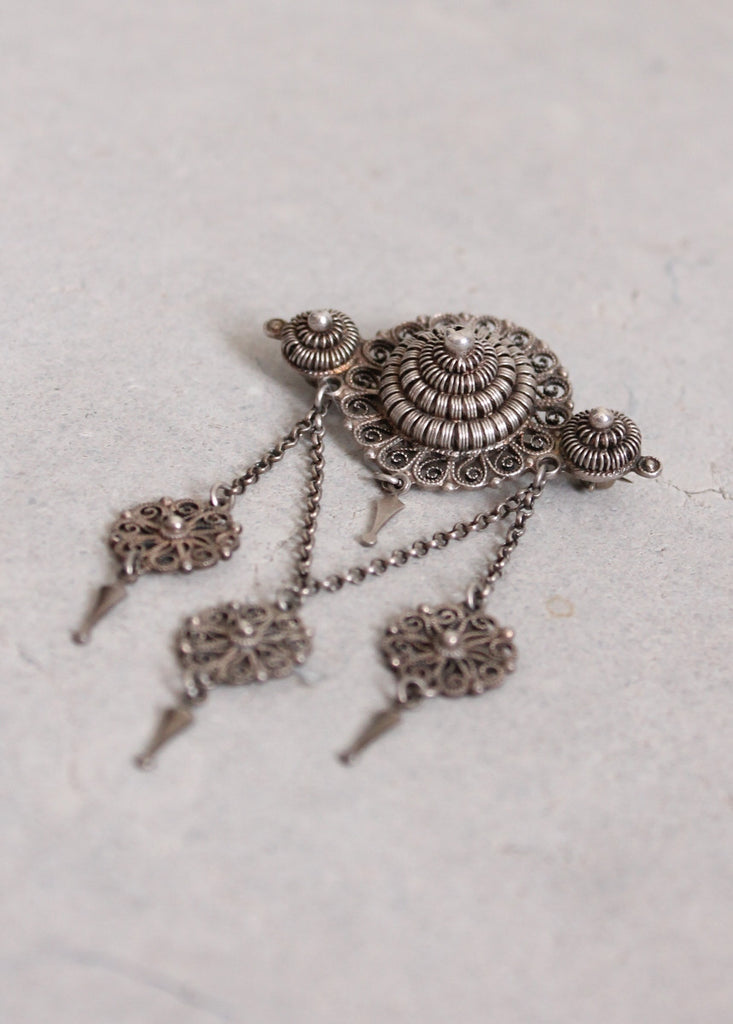 Vintage Edwardian Silver Norwegian Solji Wedding Brooch