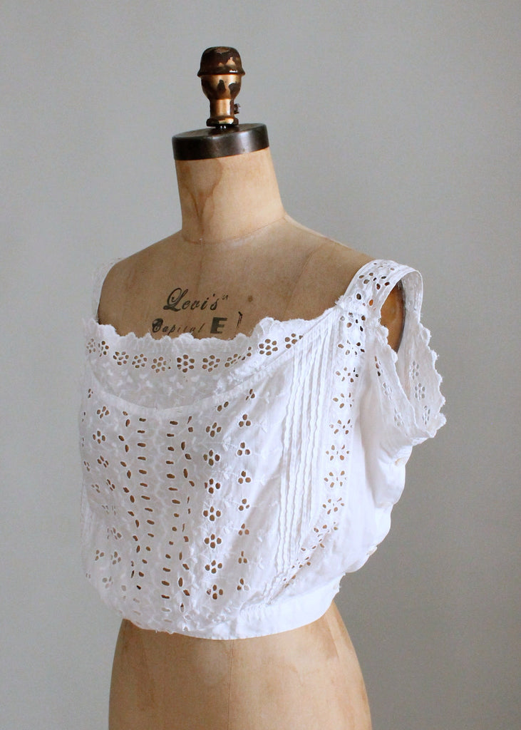 1910s Drape Front Eyelet Camisole Corset Cover