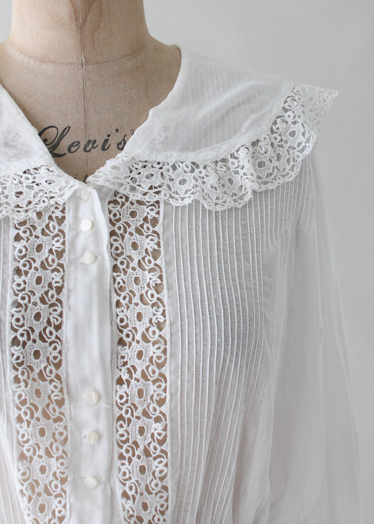 Vintage 1910s Edwardian Cotton and Lace Blouse