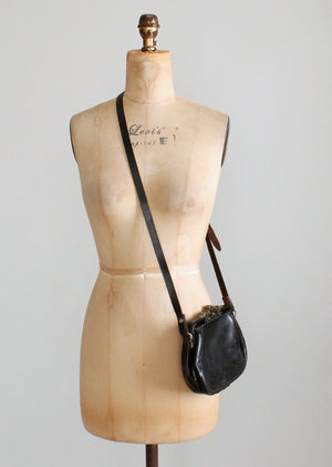 Vintage Edwardian Black Leather Shoulder Bag Purse