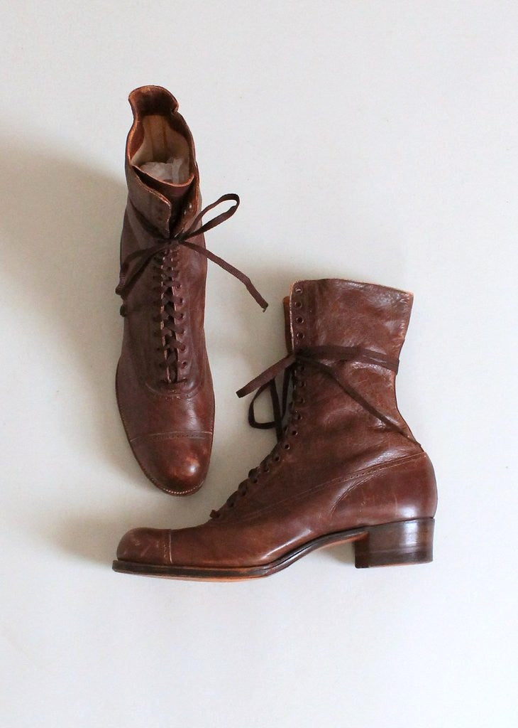 Antique Edwardian Brown Lace Up Cap Toe Boots