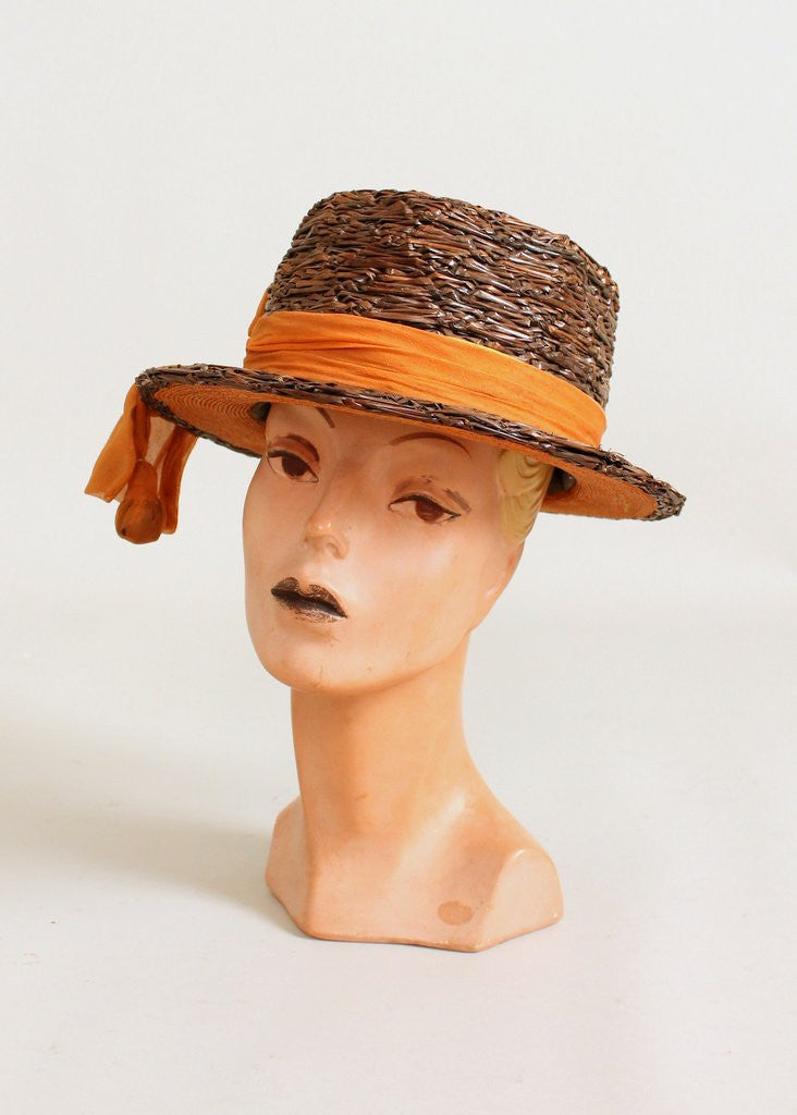 Antique Edwardian Brown Boater Hat