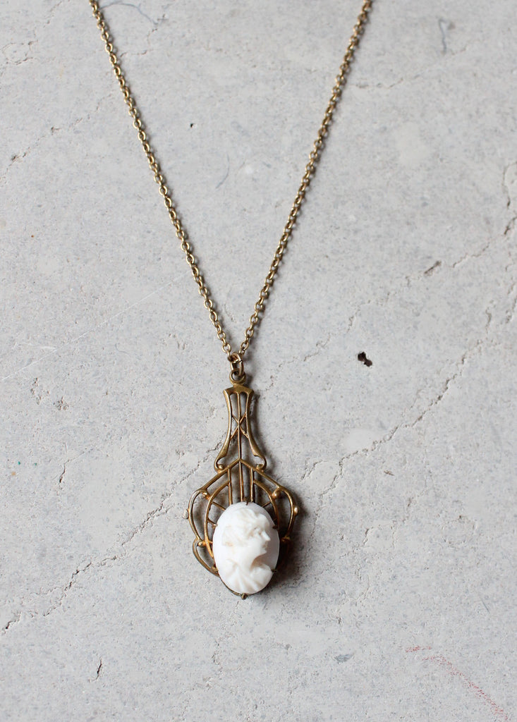 Antique Edwardian Lavalier Cameo Necklace