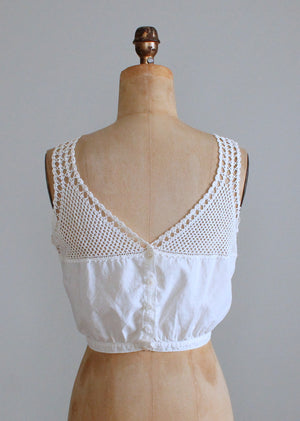 Vintage Edwardian Cotton and Crochet top Camisole Tank Top
