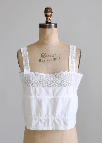 Edwardian White Cotton Eyelet Cami Tank