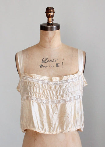 Edwardian Ecru Silk and Lace Camisole Tank Top