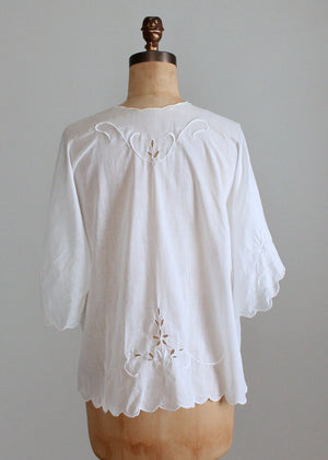 Vintage Edwardian Embroidered Cotton Bed Jacket
