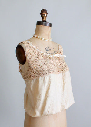 Antique Edwardian crochet and silk corset cover