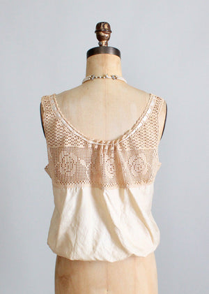Vintage Edwardian silk and crochet tank camisole