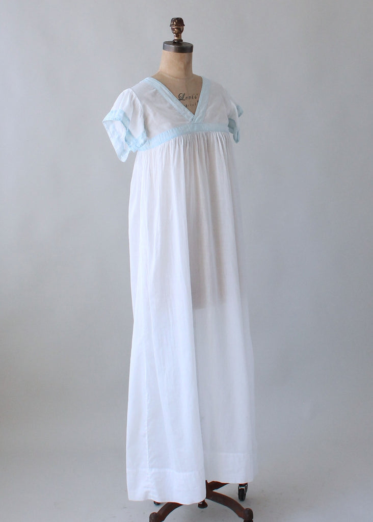 Edwardian White and Blue Cotton Nightgown