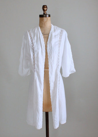 Vintage 1910s White Cotton and Lace Lawn Jacket