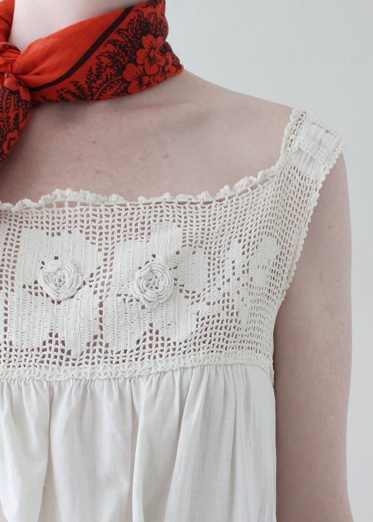 Vintage 1910s Cotton and Crochet Summer Dress