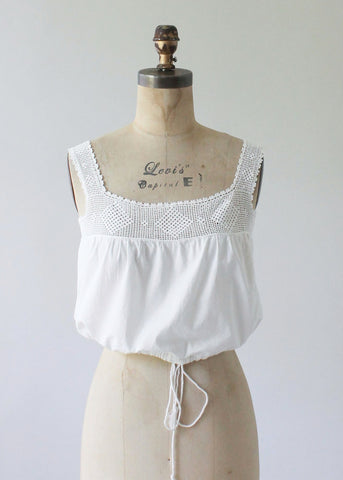 Antique 1910s Cotton and Crochet Tank Corset Cover