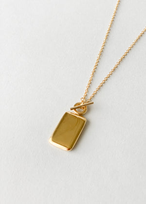 Rectangle Medallion Charm Necklace