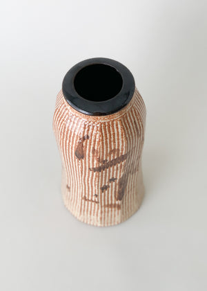 Vintage Asian Calligraphy Ceramic Vase