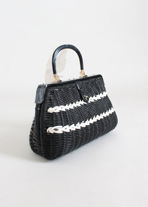 Vintage 1960s Black and White Wicker Purse