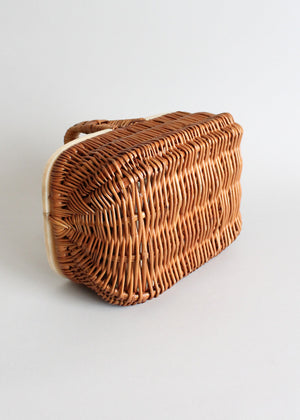 Vintage 1940s wicker and celluloid purse