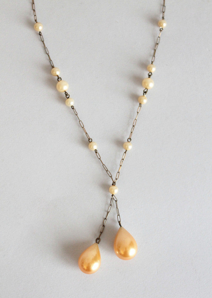 Vintage 1920s Pearl Teardrop Lariat Dangle Necklace