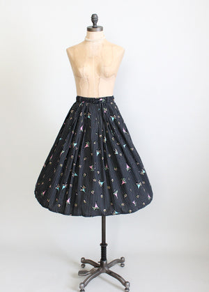Vintage 1950s Novelty Print Full Skirt