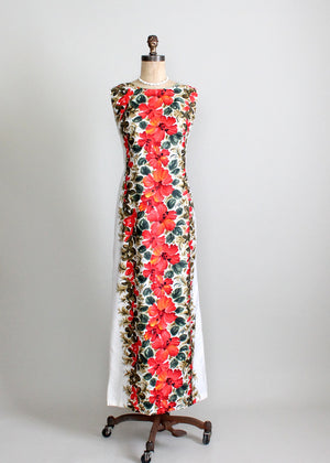 Vintage 1960s Hawaiian Floral Maxi Dress