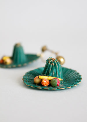 Vintage 1930s Straw Hat Novelty Earrings