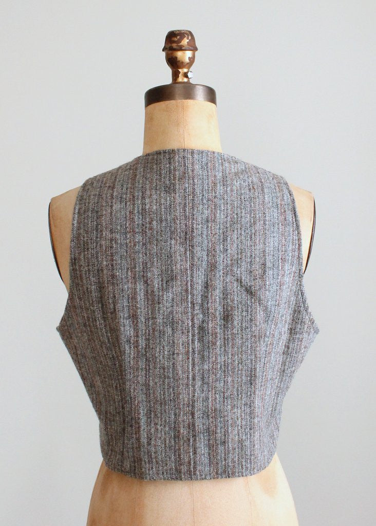 Vintage 1970s Tweed Striped Vest