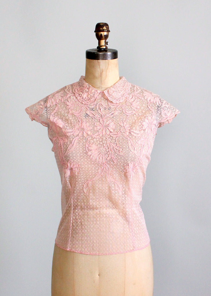 1950s pink nylon blouse