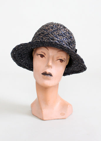 Vintage 1920s Navy and Grey Straw Cloche Hat